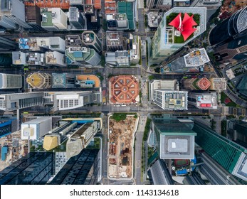 Top view of the Singapore landmark financial business district with skyscraper. Singapore city downtown drone view.