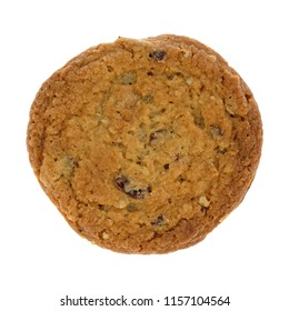 Top view of a single cranberry and oat cookie isolated on a white background.