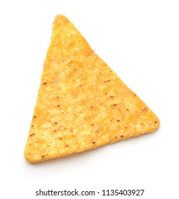 Top view of single nacho chip isolated on white