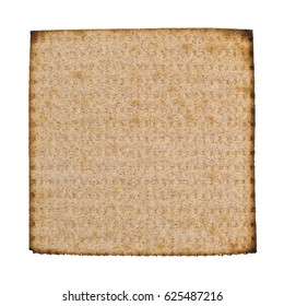 Top view of a single whole wheat matzo cracker isolated on a white background.