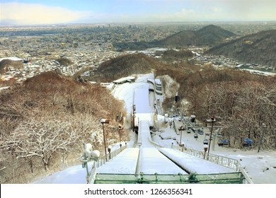 top view of ski jump area sapporo in the winter