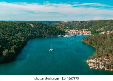 Top view of Skradin town on Krka river, Dalmatia, Croatia