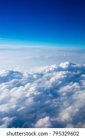 Top view of the sky and clouds from the airplane