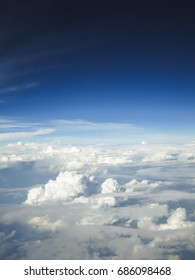 Top view of sky with white cloudy from airplane