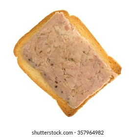 Top view of a slice of hard toast with lemon pepper flavored tuna isolated on a white background.