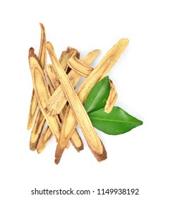 Top view of Slice Licorice roots on white background