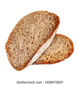 Top view of sliced bread isolated on white background with bread crumbs closeup