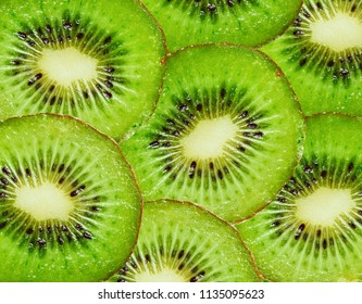 Top view of sliced kiwi