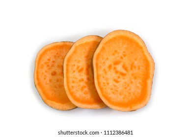 Top view of sliced sweet potato isolated on white background with clipping path.