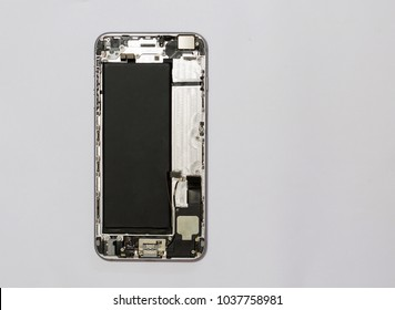 Top view of smart phone components isolate on white background with copy space