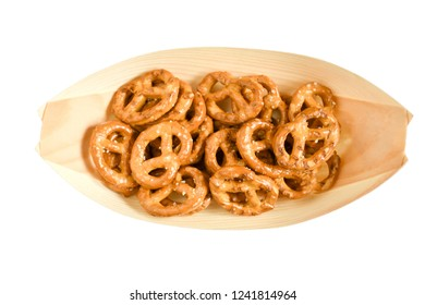Top view  snack in bamboo nature bowl in boat shape, isolate white background and clipping path, concept snack for party in christmas holiday with family.