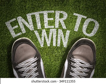 Top View of Sneakers on the grass with the text: Enter to Win