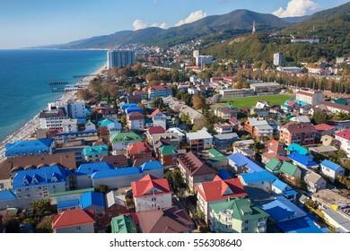 Top view of Sochi, Lazarevskoye. Popular russian resort