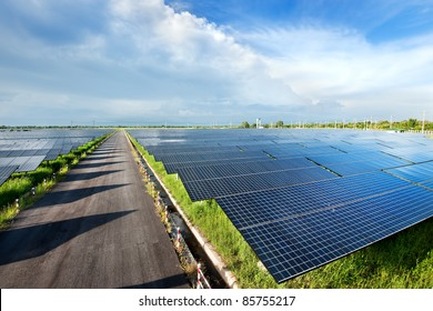 top view of solar plant station. sun power is big energy  for produce electric. this is clean power and good business for environment. solar power system is  an important source of renewable energy