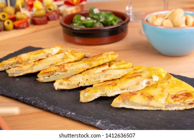 Top view of spanish tapas starters with tortilla espanola