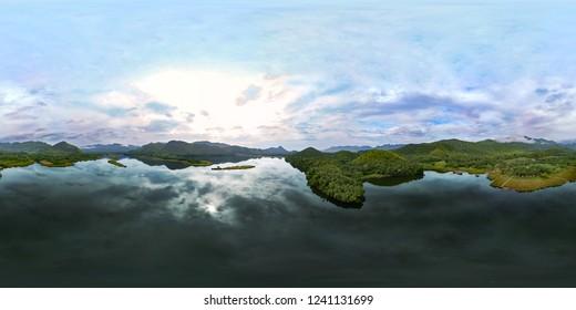 Top view Spherical 360 degree panorama of small village Baan Kokkod Chong Sadao near beautiful lake and sky at Kanchanaburi, Thailand