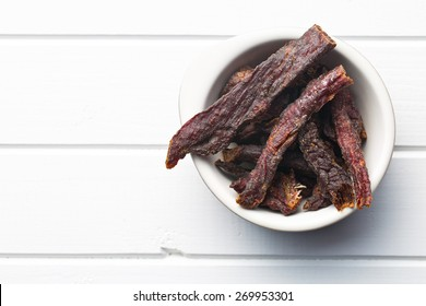 top view of spice beef jerky in bowl
