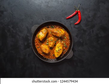 756160e2ec1 Top view of spicy and hot Bengali fish curry. Indian food. Fish curry with