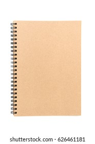 top view  spiral blank recycled paper cover notebook on white  background