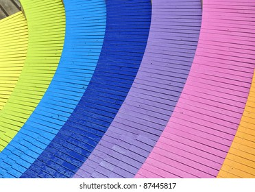 top view of a spiral colorful stair.