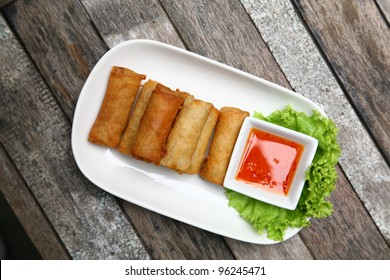 Top view Spring rolls food