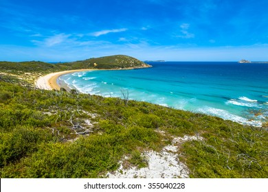 Top view of Squeaky Beach in Wilsons Promontory National Park, Victoria, Australia.