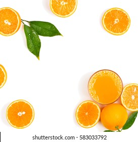Top view of squeezed orange juice and fresh oranges fruits with green wet leaves isolated on white background.