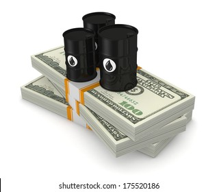 top view of a stack of dollars with three oil barrels, concept of oil market (3d render)