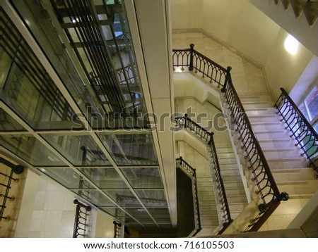 Top View Of The Staircase And Elevator