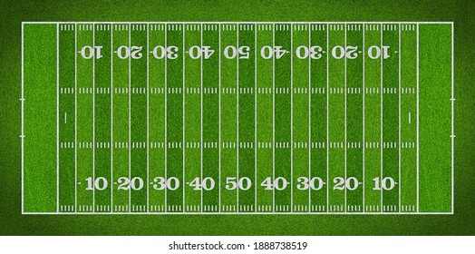 top view of standard yard size layout empty american football sport field with real green realistic grass and copy space. Team sports recreation competition background