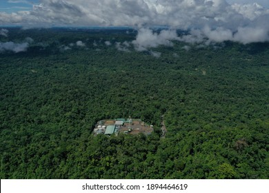 Top view, still video of an oil pumping platform in an oil field of the Amazon rainforest of South America