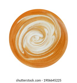 top view of stirred latte art isolated on white.
