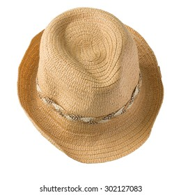 top view of straw hat isolated on white background