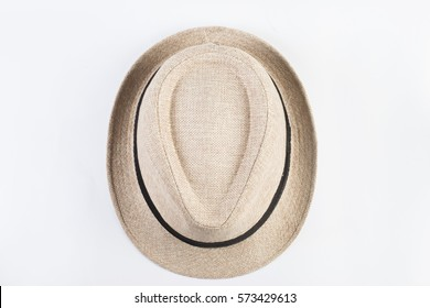 Top view of straw hat isolated on white background.