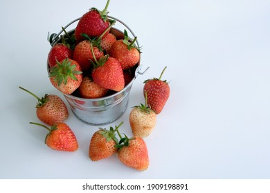 Top view Strawberries in bow on white background. Beautiful red strawberry