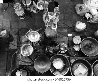 Top view Street food ,Asian food streets black and white picture