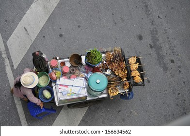 Top view of Street Food in Bangkok, Thailand