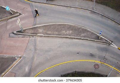 Top view of the streets of Kiev