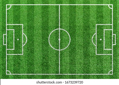 Top view stripe grass soccer field. Green lawn with white lines pattern background.