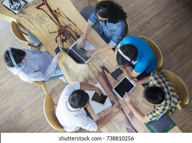 top view of students do homework and talking in the school