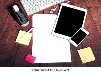 Top view of stuff office or business desktop