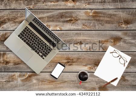 Top View Stuff Office Desktop Stock Photo Edit Now 434922112