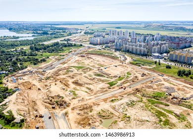 top view of suburb area. construction of new city road. panoramic aerial photography