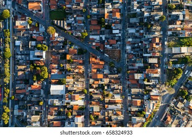 Top View of Suburban Neighborhood in Sao Paulo, Brazil