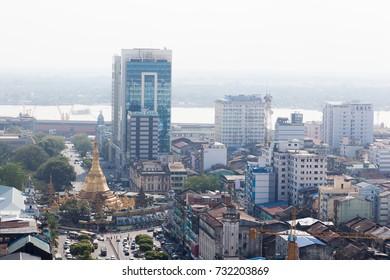Top view of Sule Paya (pagoda). Yangon. Myanmar