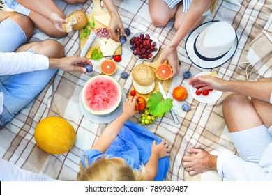 Top view summer garden italian picnic. Summer party
