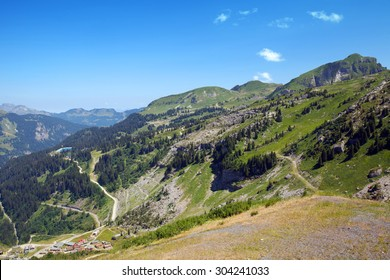 The top view of summer mountains in Haute Savoie, France