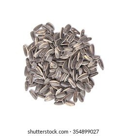 Top view of sunflower seeds isolated