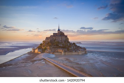 Top view with sunset sky scene at Mont-Saint-Michel, Normandy, France