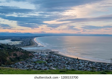 Top view of sunset time at  Sumner , Christchurch city by ocean in New Zealand